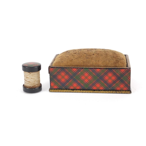 31 - Victorian Tartanware thread waxer and rectangular pin cushion box having a sliding lid together with...