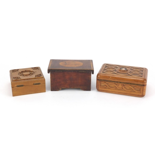 39 - Wooden boxes including a Chinese Canton sandalwood example and a continental example, having a hinge...