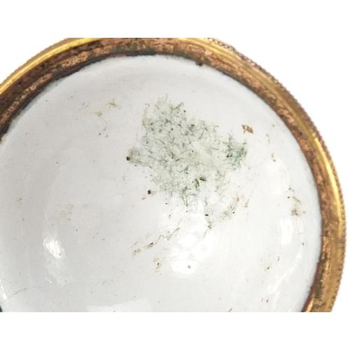 45 - Antique enamel egg design trinket with gilt coloured metal mounts, hand painted with flowers, 4cm hi...