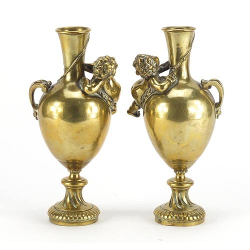 14 - Auguste Moreau, pair of 19th century bronze vases, each modelled with a cherub and cast in relief wi...