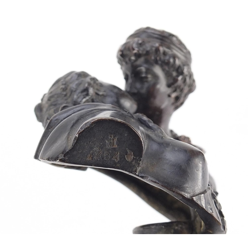 8 - 19th century classical patinated bronze of lovers kissing, raised on circular ebonised base, the bro...