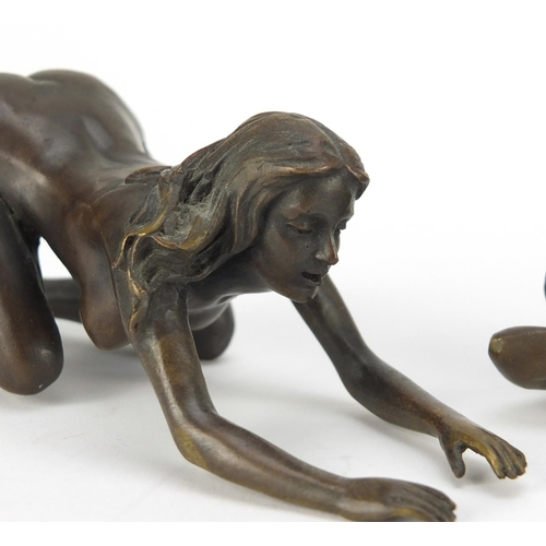 10 - J Patoue, two erotic patinated bronzes of nude females, both signed, the largest 15cm in length...