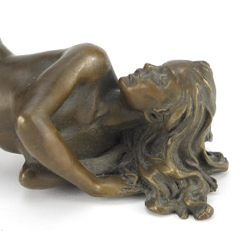 11 - J Patoue, two erotic patinated bronzes of a nude male and a female, both signed, the largest 15cm in...