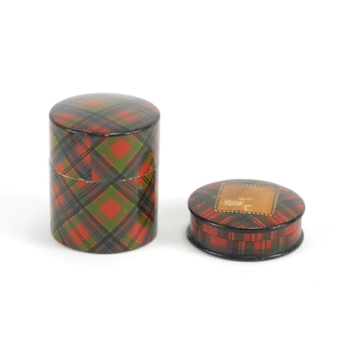 32 - Victorian Tartanware stamp box and cotton reel box, the largest 5cm high...