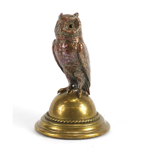 20 - Novelty Victorian copper and brass owl design desk inkwell, 23cm high...