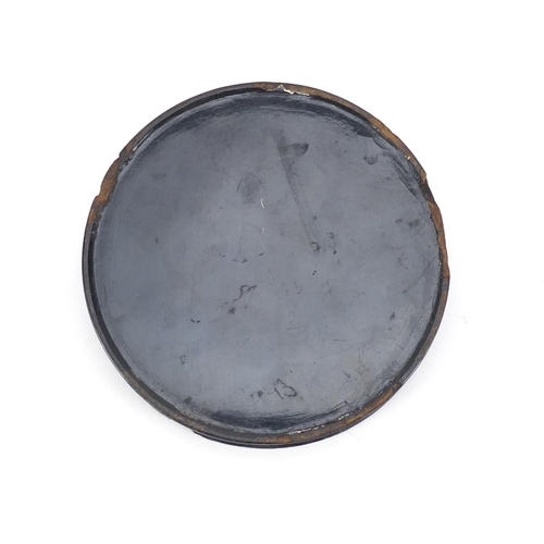 46 - Early 19th century circular papier-mâché snuff box by Samuel Raven, the lift off lid hand painted wi...