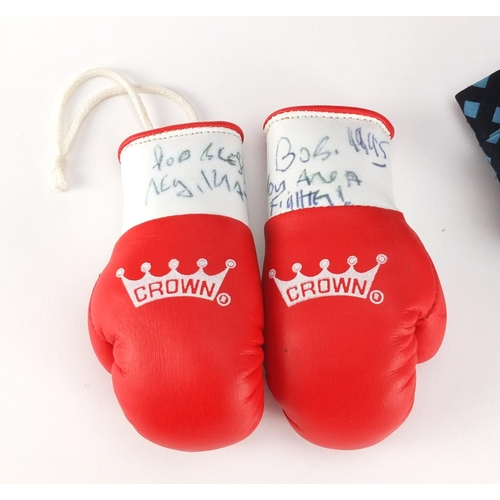 190 - Reggie Kray ephemera comprising a pair of signed miniature boxing gloves and Villains We Have Known ...