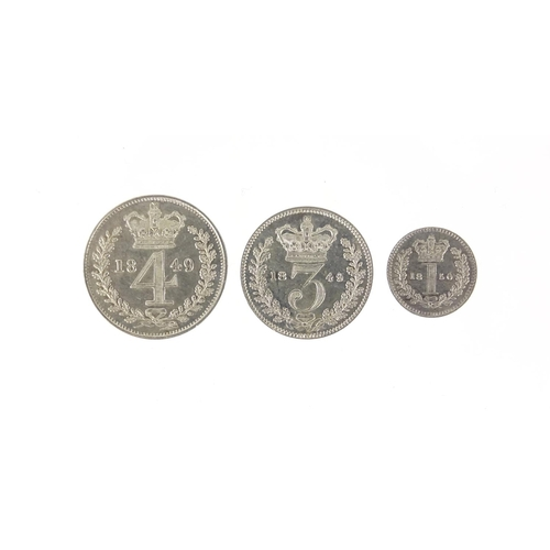 257 - Victoria Young Head 1849 part Maundy set