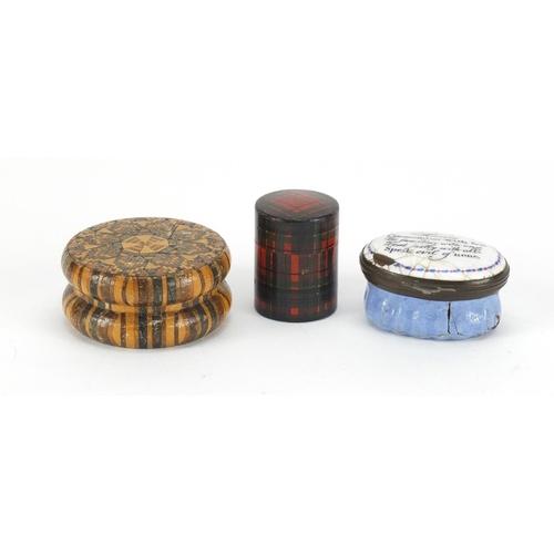 41 - Antique objects comprising an 18th century Bilston enamel patch box, Tunbridge Ware box and Tartanwa...