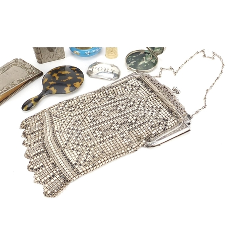 58 - Objects including Georgian silver port decanter label, 1920's chain link purse with silver coloured ...