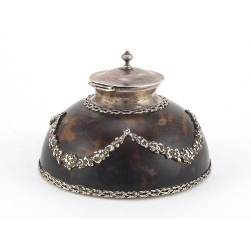 54 - Edwardian tortoiseshell and cut glass inkwell with silver mounts by Apsrey & Co, decorated in relief...