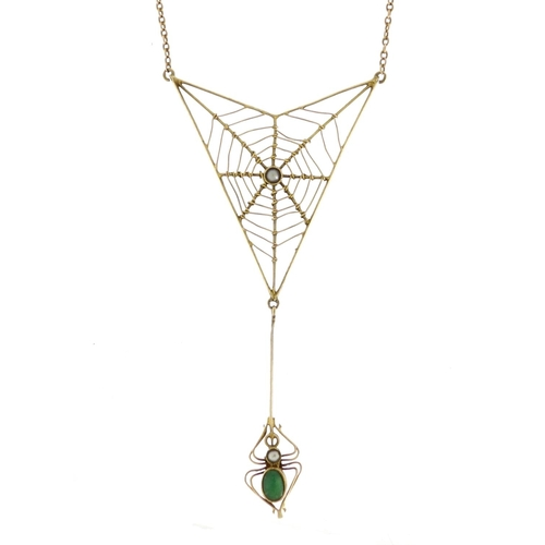963 - Art Nouveau 9ct gold spider web necklace by Murrle Bennett & Co, the spider set with a turquoise and...