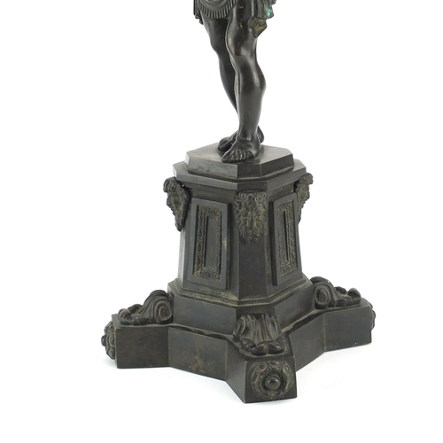 2 - Attributed to Thomas Messenger, 19th century patinated bronze Atlas lamp, raised on an octagonal pli...