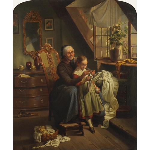 1259 - Grandma sewing with a young girl, early 19th century oil on canvas, mounted and framed, 44.5cm x 37c...