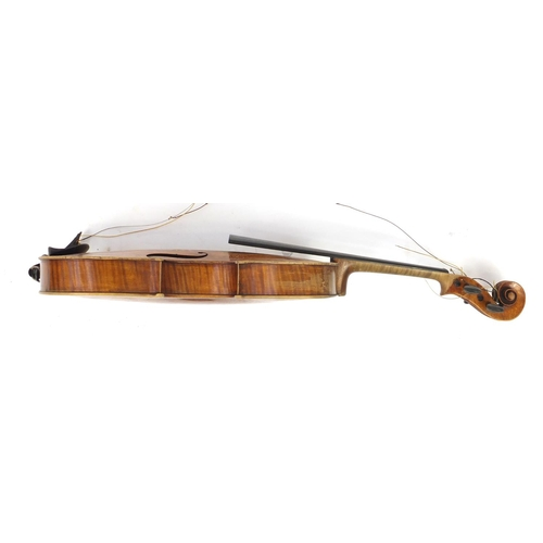169 - ** DESCRIPTION AMENDED 1/11 ** Old wooden viola with two bows and carrying case, the violin bearing ...