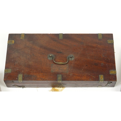 40A - Five early 19th century and later gun cases with fitted interiors including a brass bound  mahogany ...