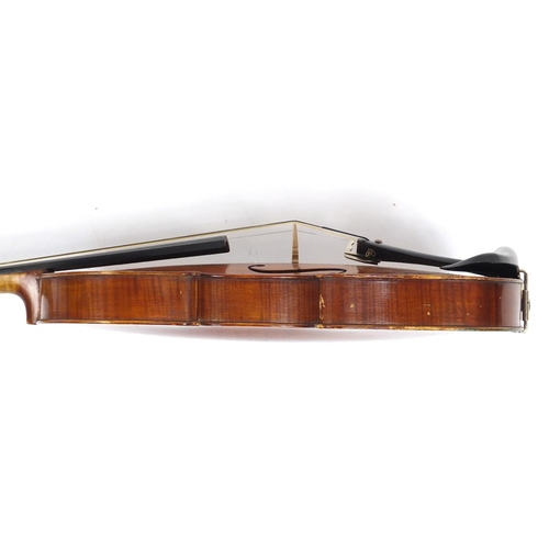 170 - Old wooden violin with bow and case, the violin bearing a label inscribed T Holmes Jun Carlisle Nov ...