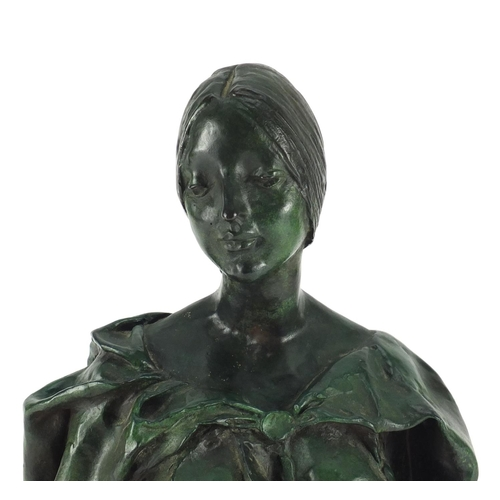 4 - Francesco Messina, patinated bronze bust titled 'Laura', limited edition 38/149 with certificate of ...