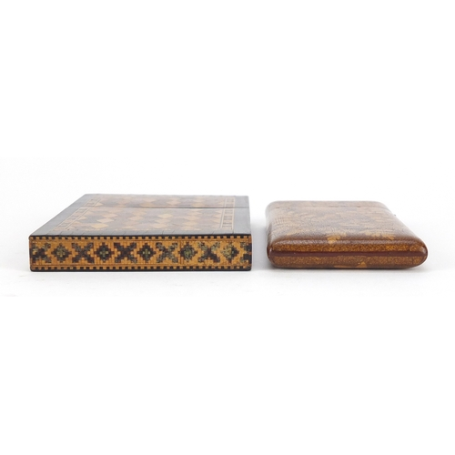 33 - Two Victorian calling card cases including a Tunbridge Ware example with micro mosaic inlay, the lar...