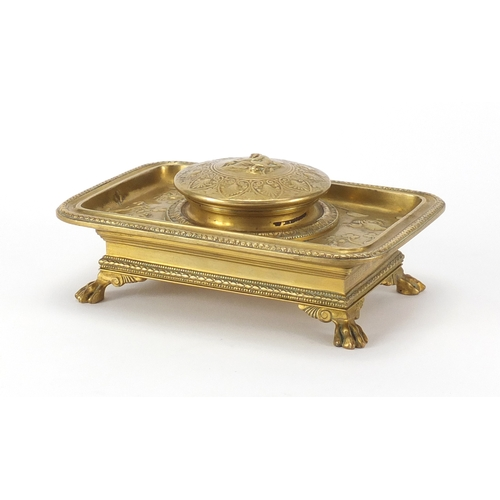 19 - 19th century French Ormolu desk inkwell with blue glass liner by Ferdinard by Barbedienne decorated ...
