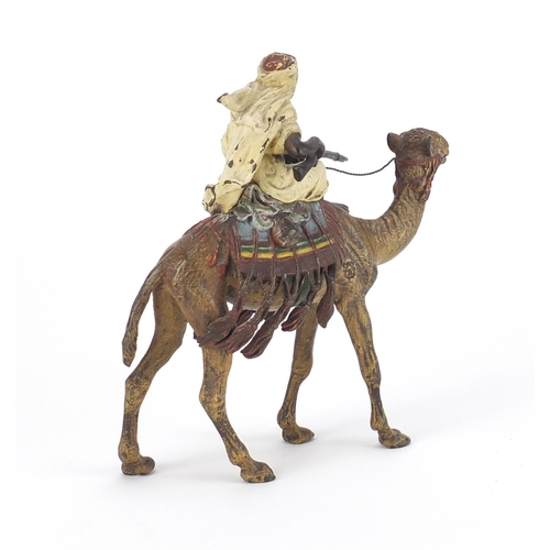 6 - Franz Xaver Bergmann, Austrian cold painted bronze figure of an Arab huntsman on camelback, impresse...