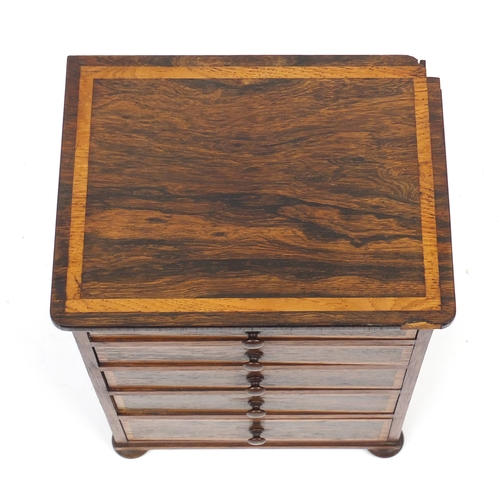 40 - Victorian rosewood five drawer apprentice chest with oak inlay, 37.5cm H x 27.5cm W x 21cm D...