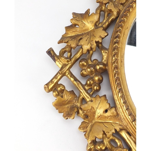 2018 - 19th century Italian Florentine mirror carved with leaves and berries, 46cm x 36cm...