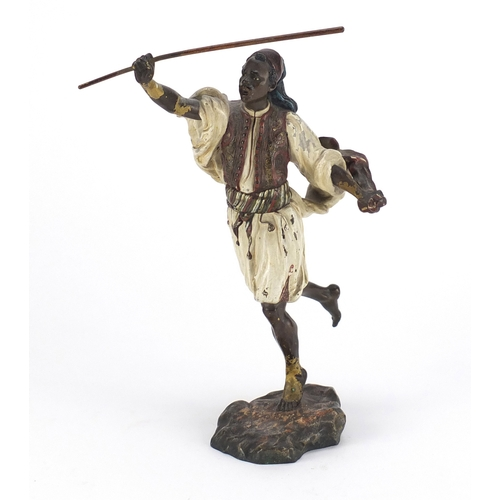 5 - Franz Xaver Bergmann, large Austrian cold painted bronze figure of an Arab huntsman, impressed marks...