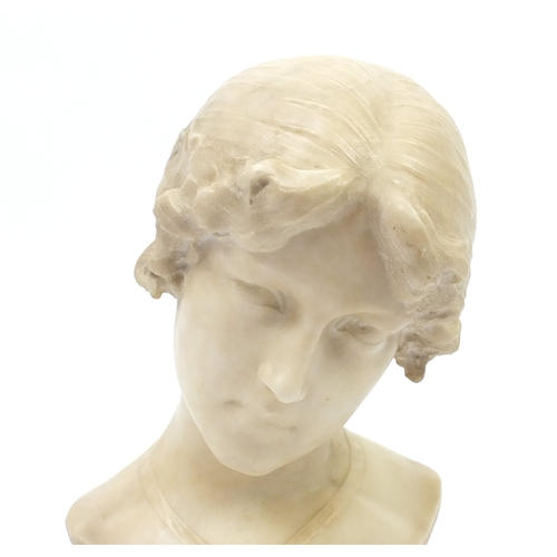 1 - Aristide Petrilli, white marble carving titled 'Evangelina', signed to the reverse, raised on a marb...