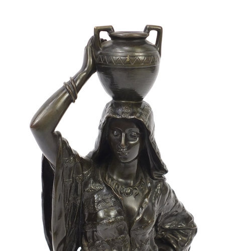 3 - Edouard Drouot, large patinated bronze study of a female holding a vessel, Retour Le Fountain, 60.5c...