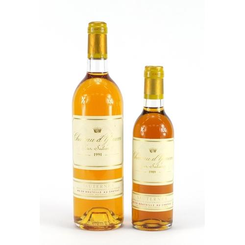 2197 - Two bottles of Château D'yquem Sauternes comprising 75cl 1991 and 37.5cl 1989...