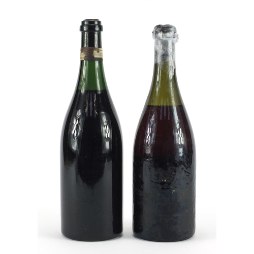 2227 - Two bottles of 1940's Caves De La Maison red wine comprising Prunier Vouvray and Ackeman Laurance Vo...