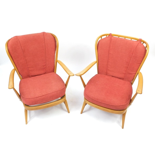 2036 - Pair of Ercol light elm easy chairs, 82cm high...