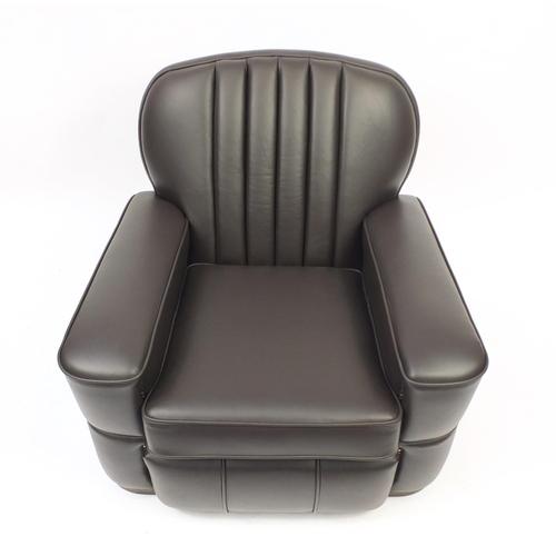 2006 - Art Deco brown leather club chair, 80cm high...