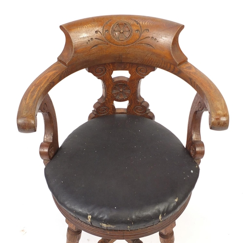 2048 - Naval interest oak captains chair, removed from HMS Marlborough, 81cm high...