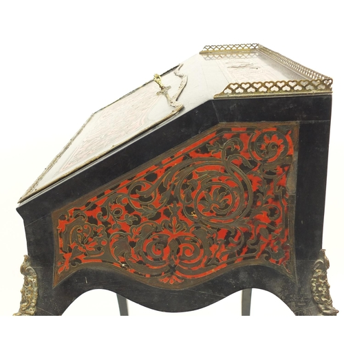2014 - French ebonised boulle work bureau De Dame with ornate brass mounts, 92cm H x 66cm W x 45cm D...