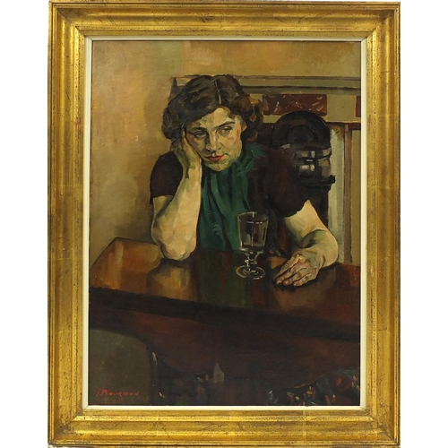 2054 - T Bourdon - Female at a table with a glass, oil on canvas, mounted and framed, 80cm x 60cm...