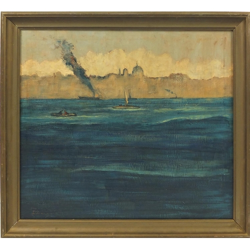2052 - Boats in water before city, impressionist oil on canvas, bearing a indistinct signature possibly D R...