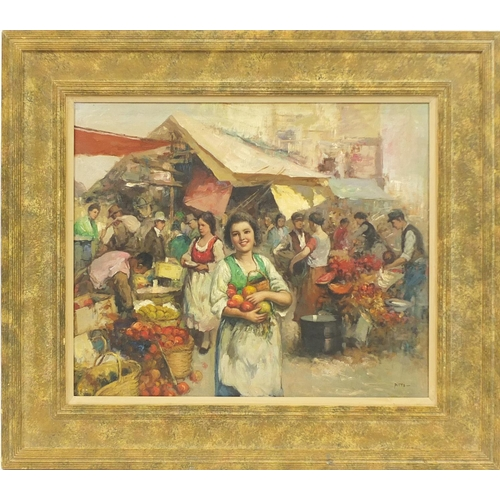 2055 - Busy market scene, Italian impressionist oil on board, bearing a signature Pitta, mounted and framed...