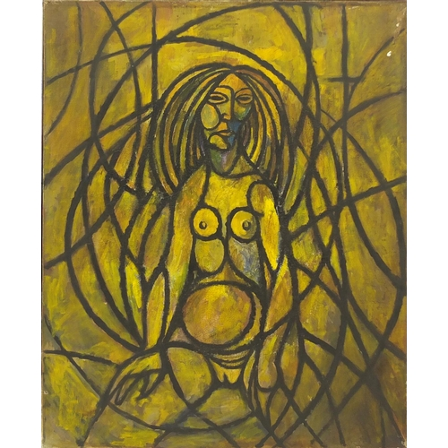 2053 - Abstract composition, surreal nude figure, oil on canvas, bearing an inscription Ribeiro verso, fram...