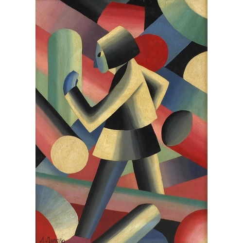 2058 - Abstract composition, cubist figure, Russian school oil on board, bearing a signature Monora, framed...