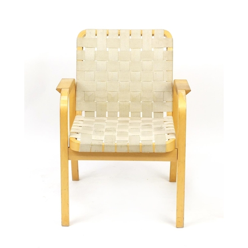 2030 - Swedish bentwood open armchair probably designed by Bruno Mathsson, 80cm high...