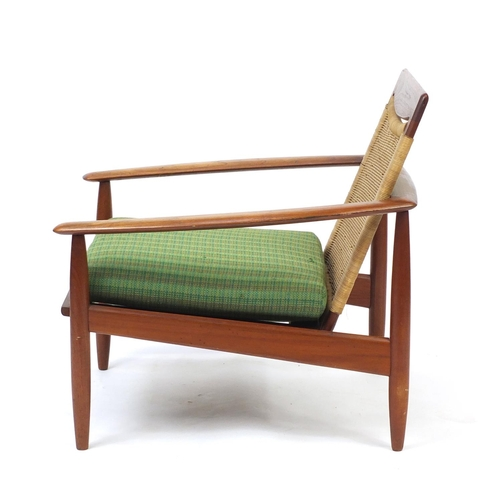 2032 - Vintage Scandinavian rosewood lounge chair with cane back, probably Danish, 75cm high...