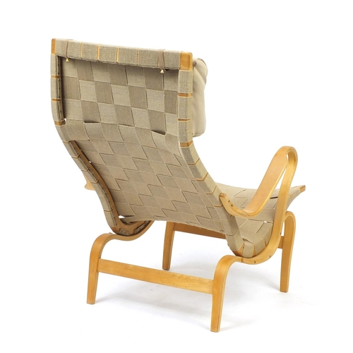 2013 - Vintage Swedish bentwood Pernilla lounge chair designed by Bruno Mathsson, 99cm high...