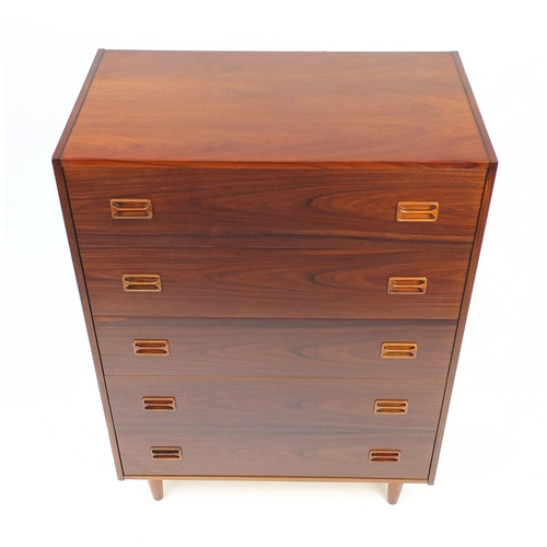 2024 - Vintage Danish rosewood five drawer chest by Dyrlund, 120cm H x 85cm W x 46.5cm D...