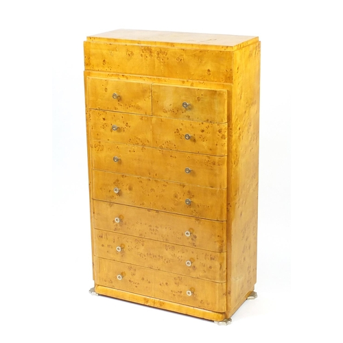 2041 - Art Deco style birdseye maple tall boy chest with eight drawers and chrome fittings, 137cm H x 80cm ...