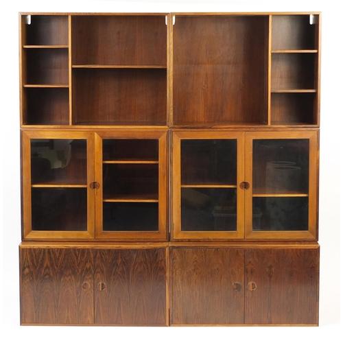 2023 - Vintage Danish rosewood modular bookcase by HG Furniture, overall 188cm H x 180cm W x 40.5cm D...