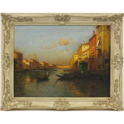 2051 - Manner of Antoine Bouvard - Venetian canal with gondola's, oil on board, framed, 60cm x 44cm...