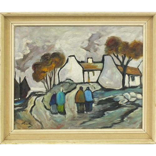 2057 - After Markey Robinson - Figures by cottages, Irish school oil on board, framed, 50cm x 40cm...