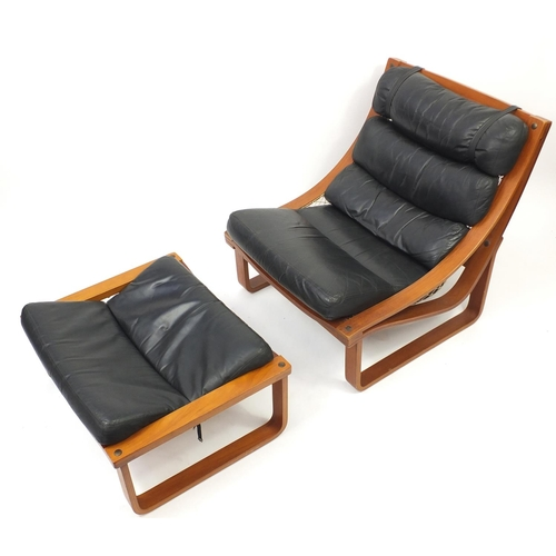 2002 - Vintage Tessa T4 lounge chair with foot stool designed by Fred Lowen, the chair 80cm high...